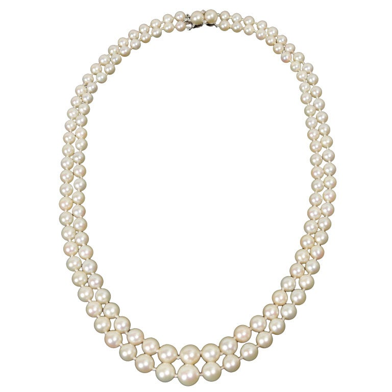 Gorgeous Matched Graduated Double Stand Pearl Necklace At