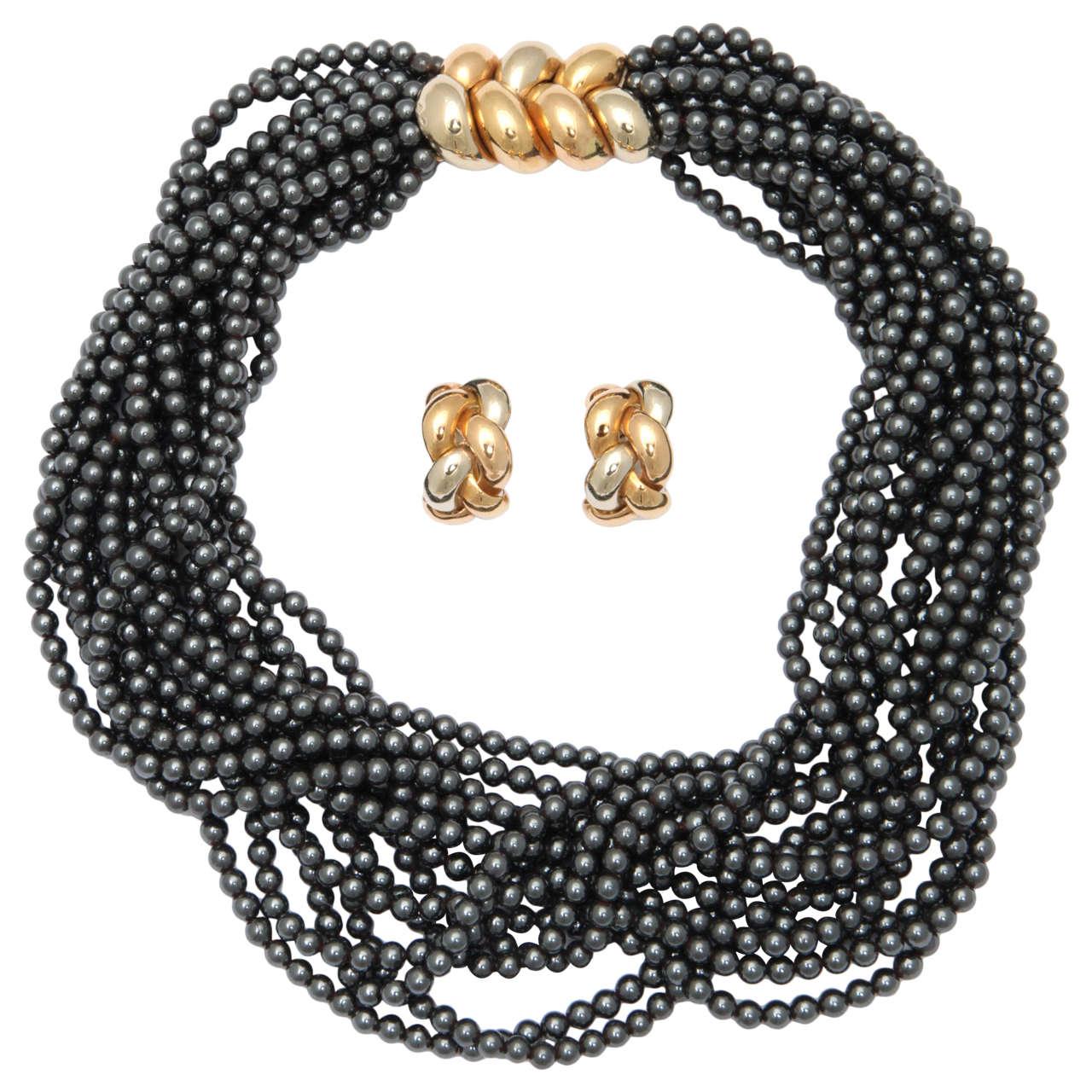 Poiray Multistrand Hematite Gold Necklace