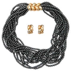 Poiray Multistrand Hematite Gold Necklace