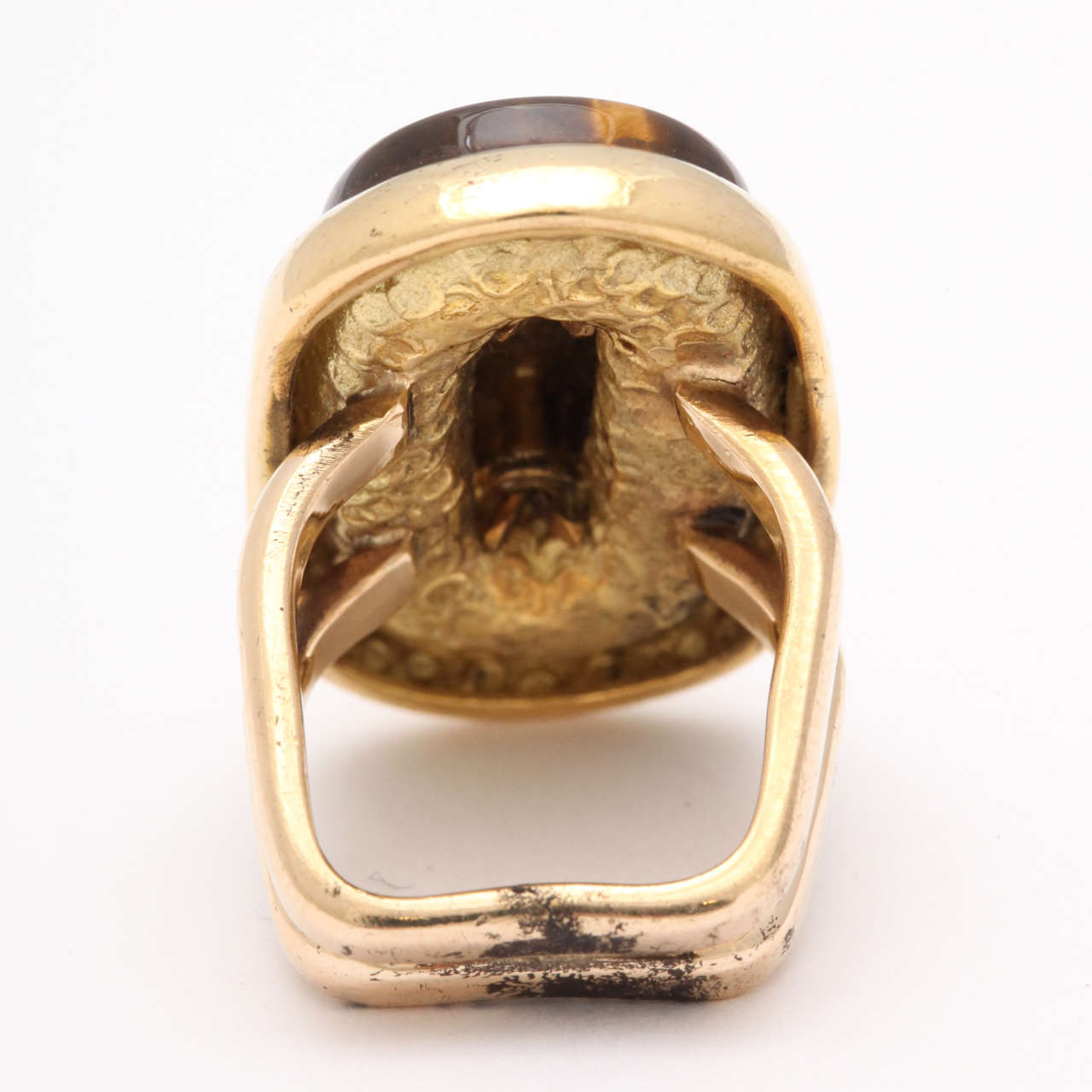 Women's Mid Century Tiger's Eye Gold Ring For Sale