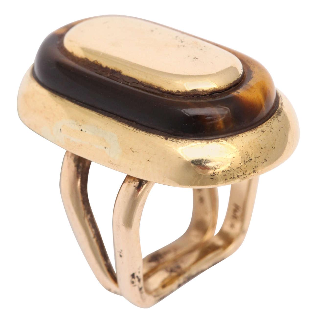 Mid Century Tiger's Eye Gold Ring