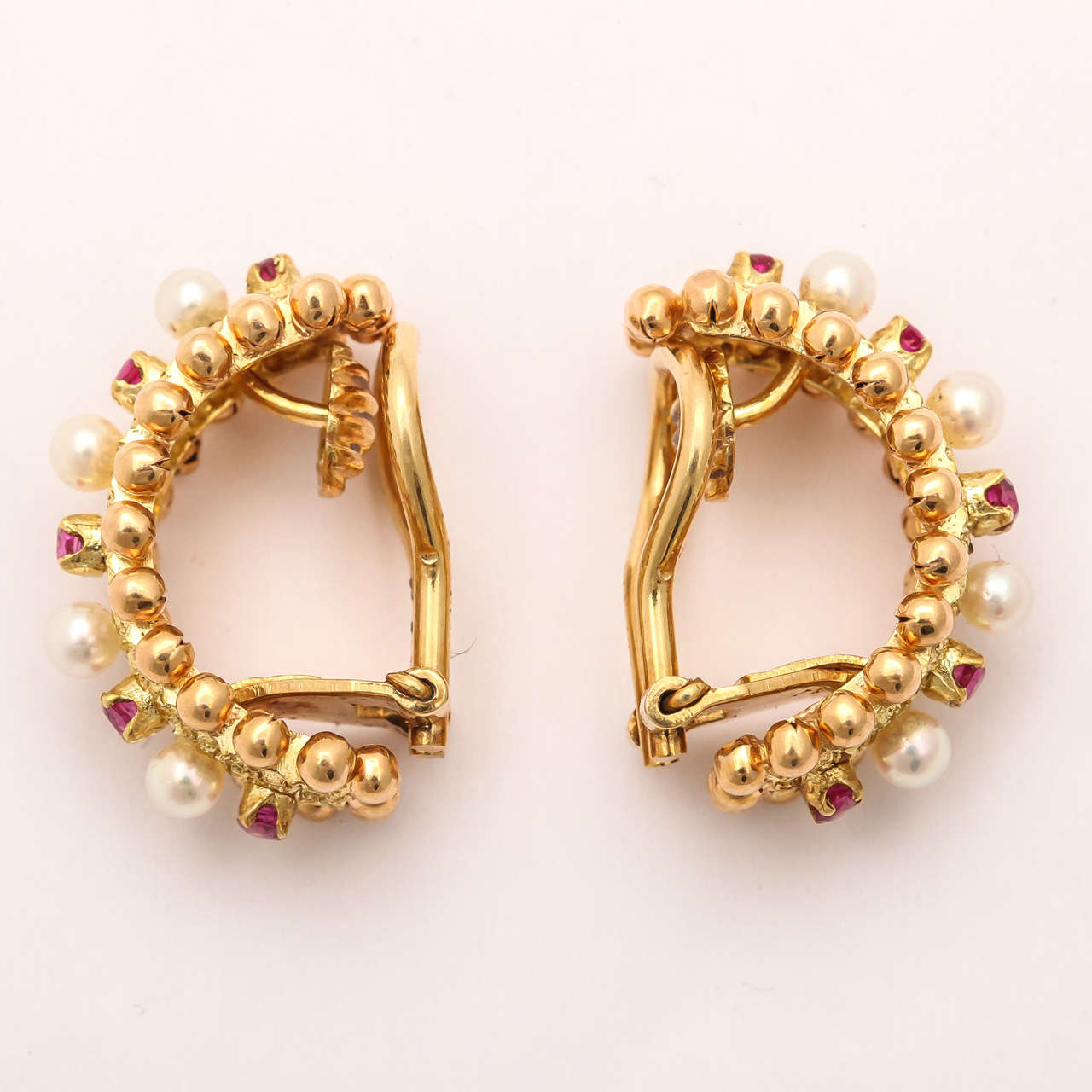 Cartier Italy Pearl Ruby Gold Hoop Earrings 3