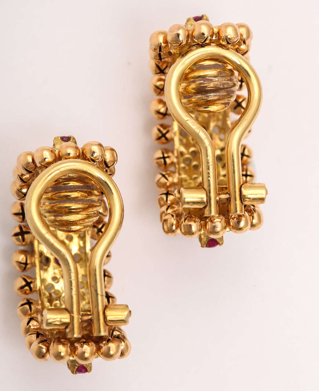 Cartier Italy Pearl Ruby Gold Hoop Earrings 4