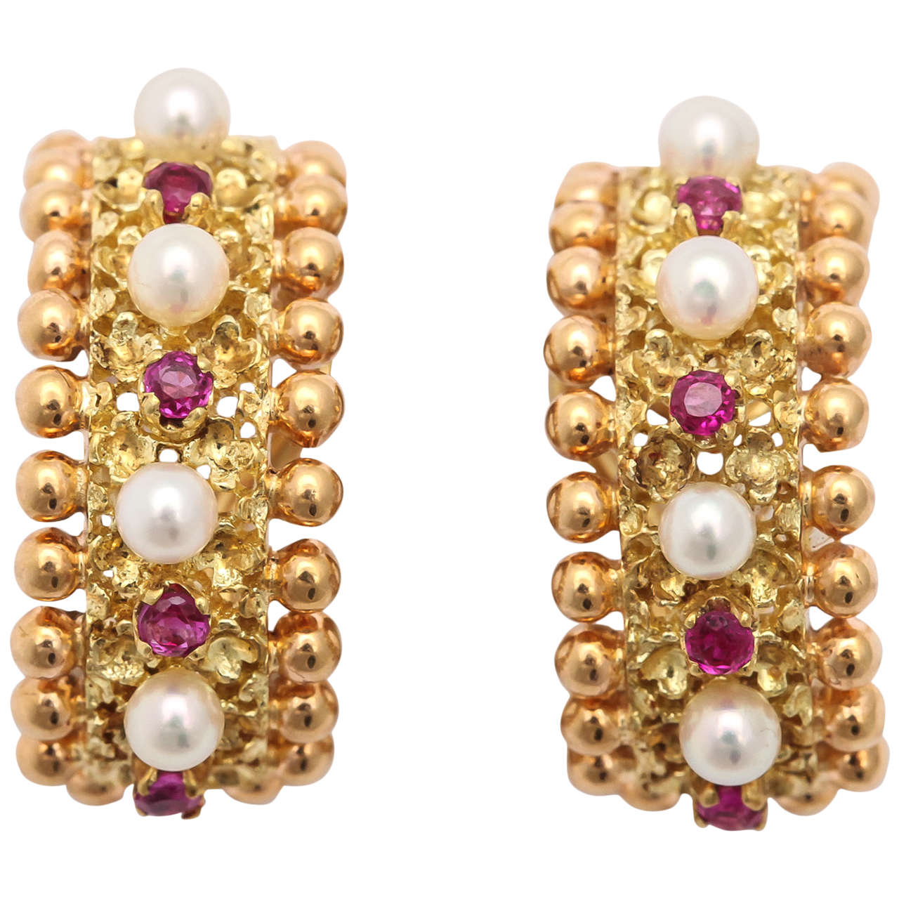 Cartier Italy Pearl Ruby Gold Hoop Earrings 1