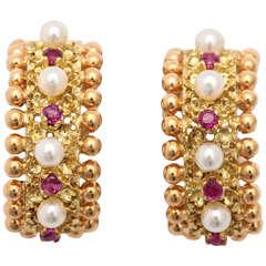 Cartier Italy Pearl Ruby Gold Hoop Earrings