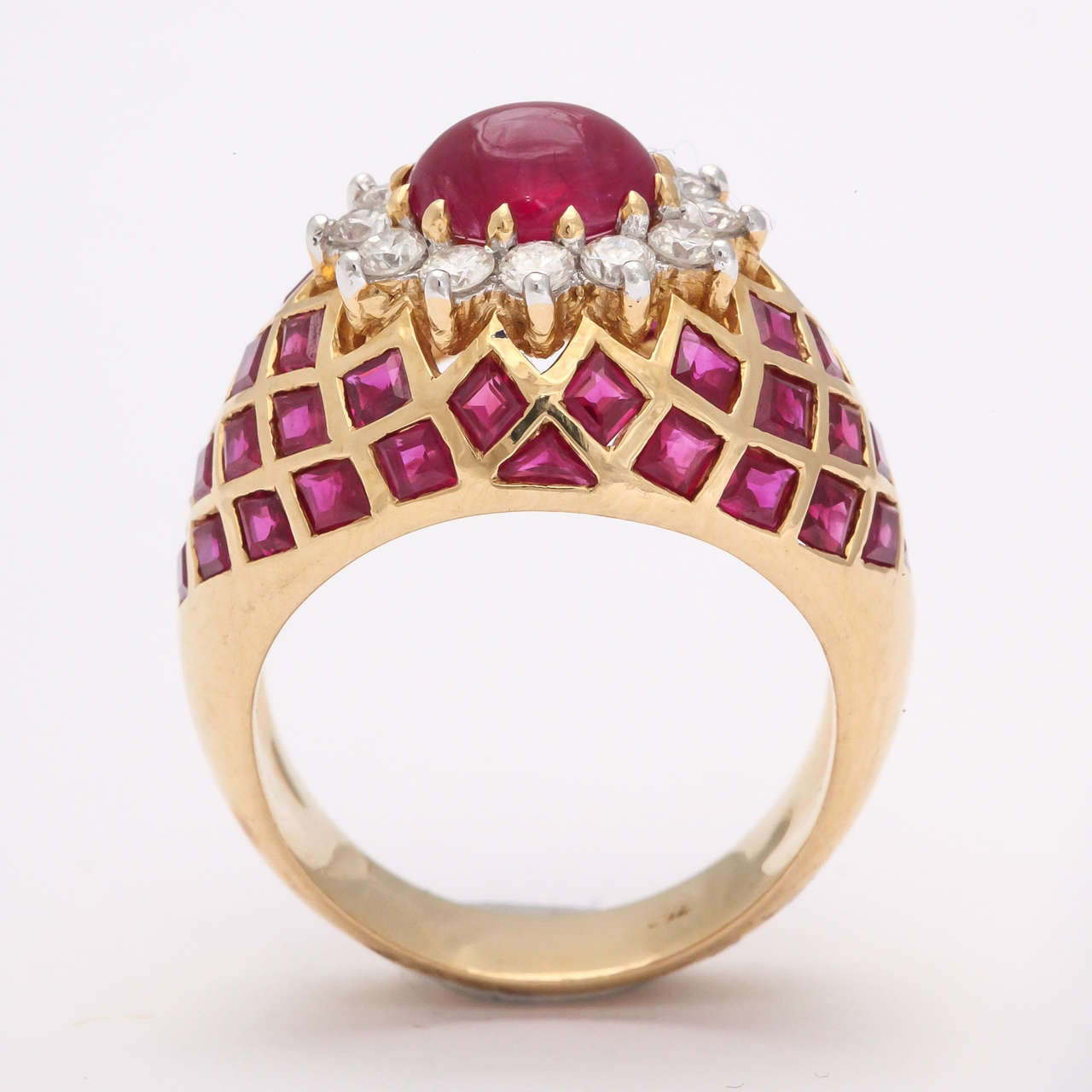 Cabochon Ruby Diamond Gold Ring 2