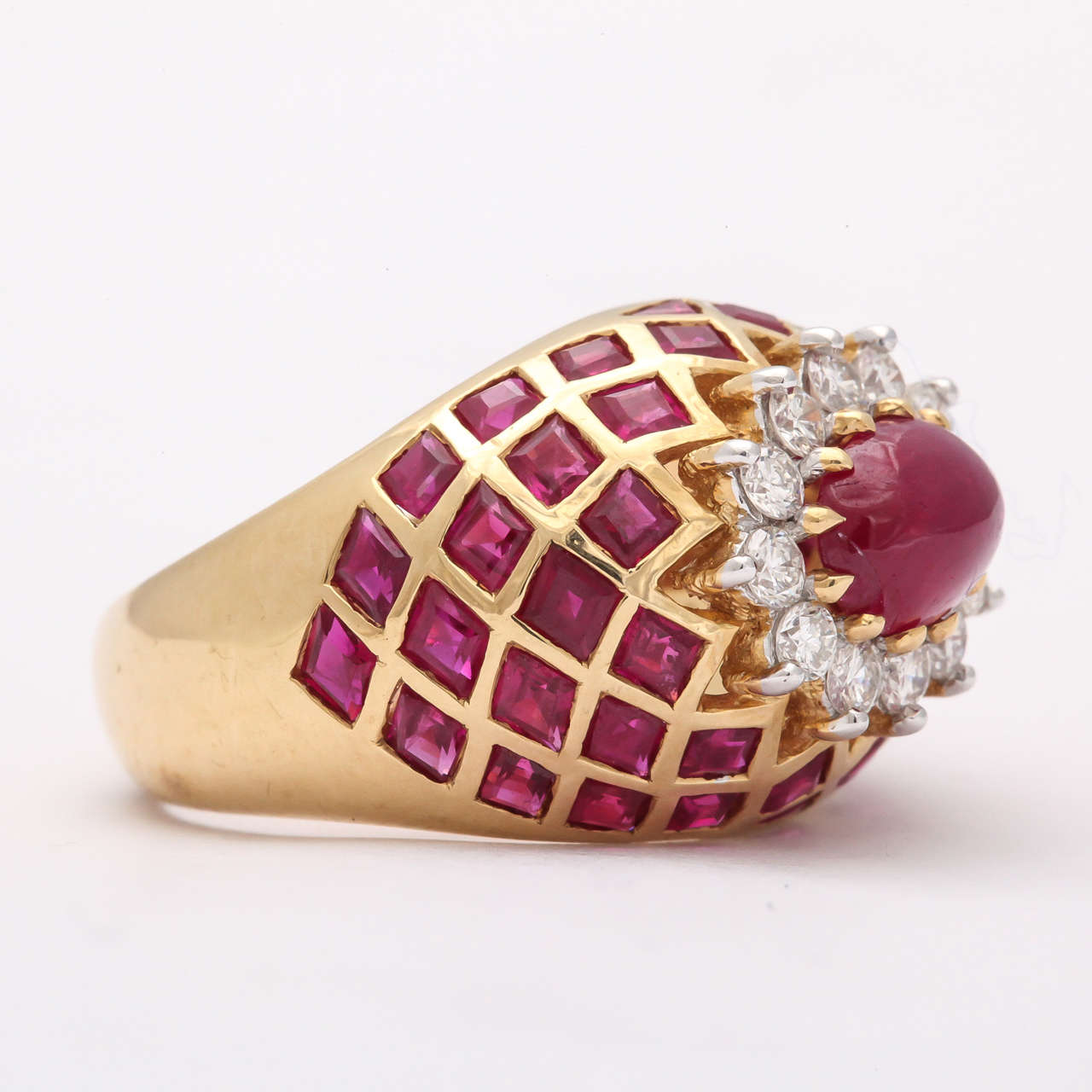 Cabochon Ruby Diamond Gold Ring 4