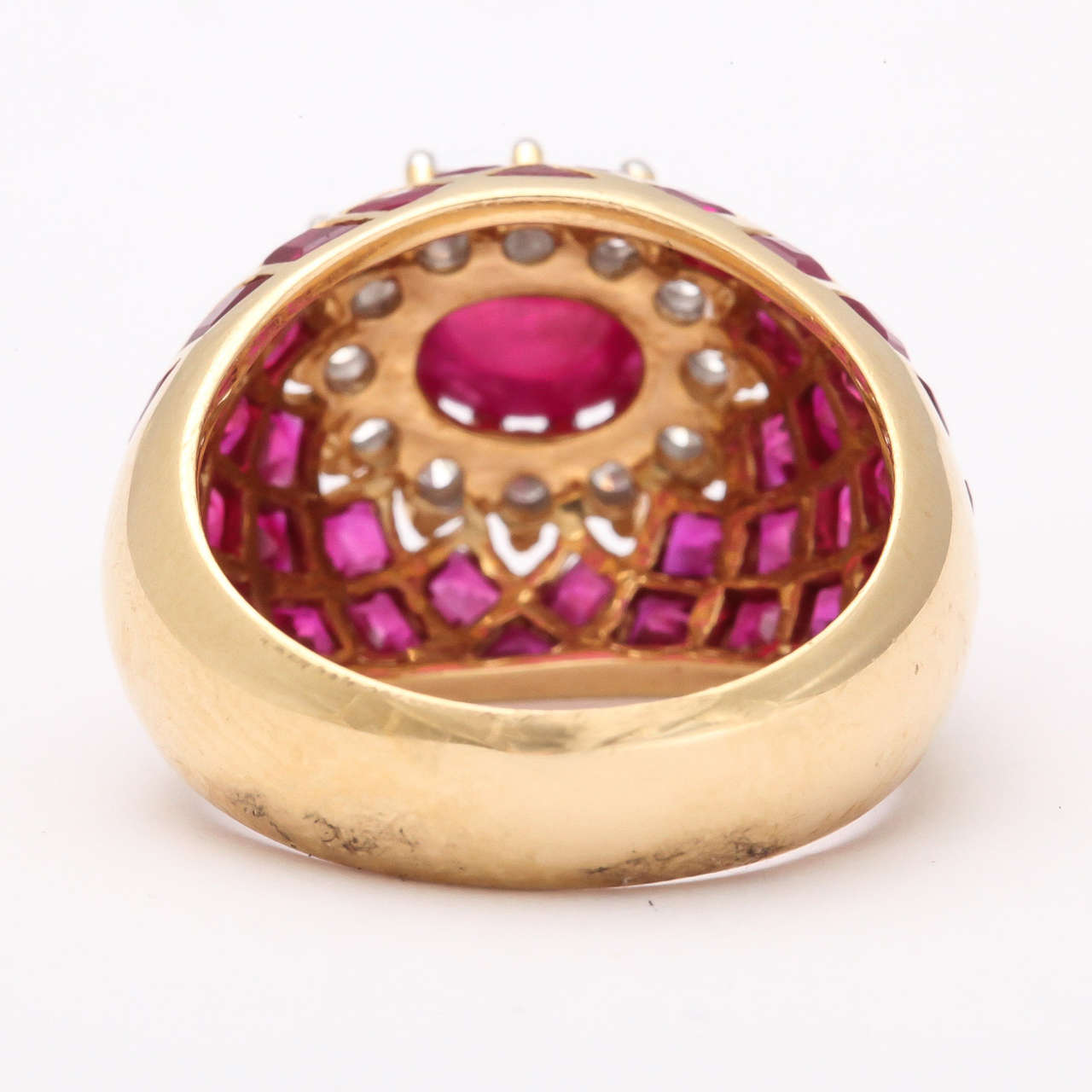 Cabochon Ruby Diamond Gold Ring 5