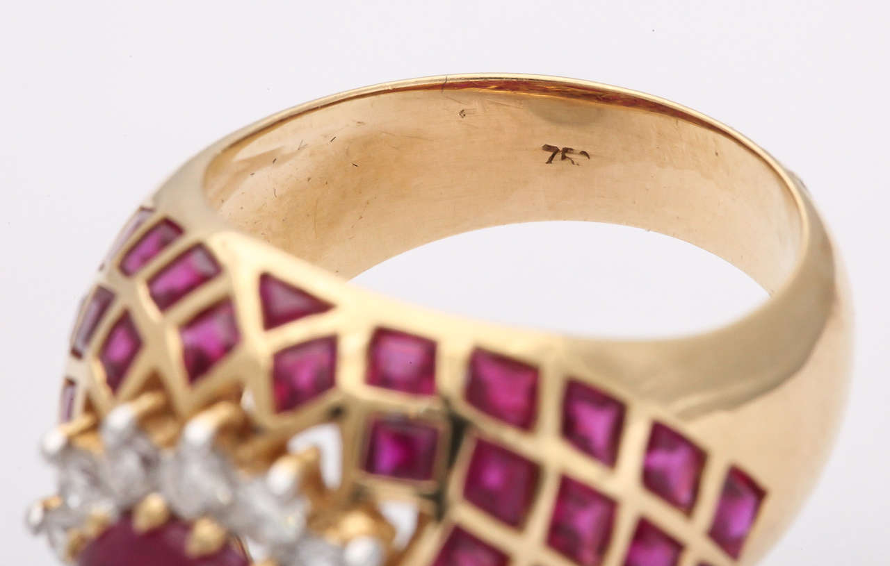 Cabochon Ruby Diamond Gold Ring 6