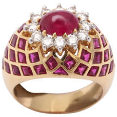 Cabochon Ruby Diamond Gold Ring