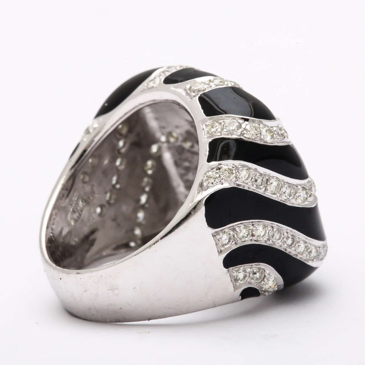 Art Deco Black Enamel  Diamond Ring For Sale