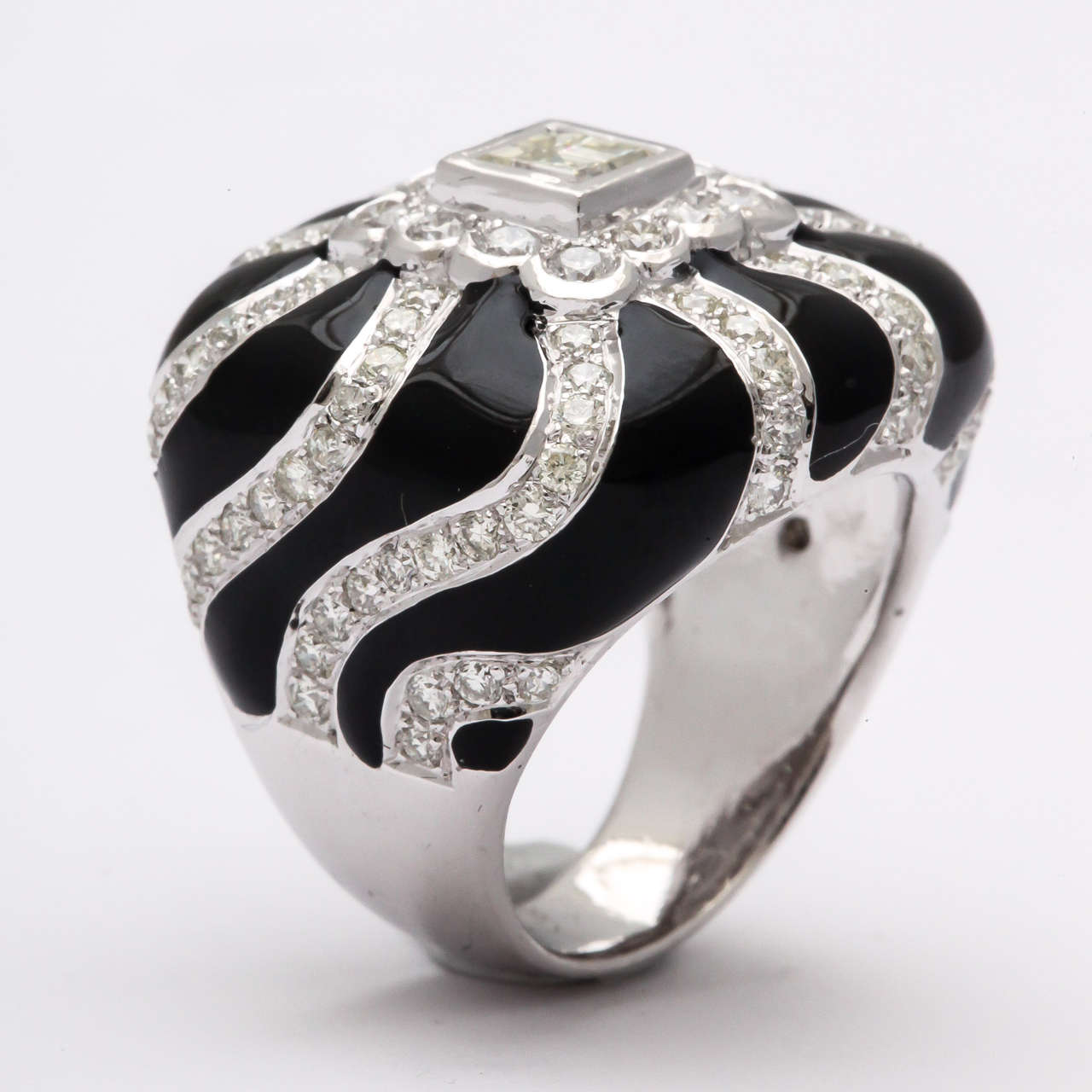 Women's Black Enamel  Diamond Ring For Sale