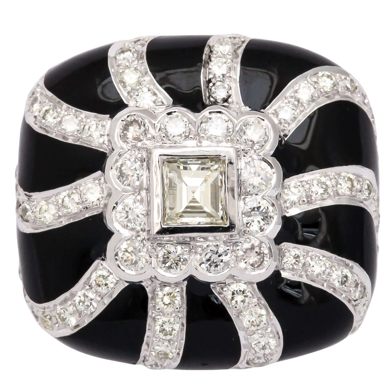 Black Enamel  Diamond Ring