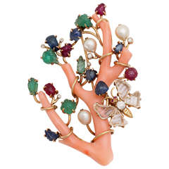 Rare Seaman Schepps Jewelled Coral Branch Brooch