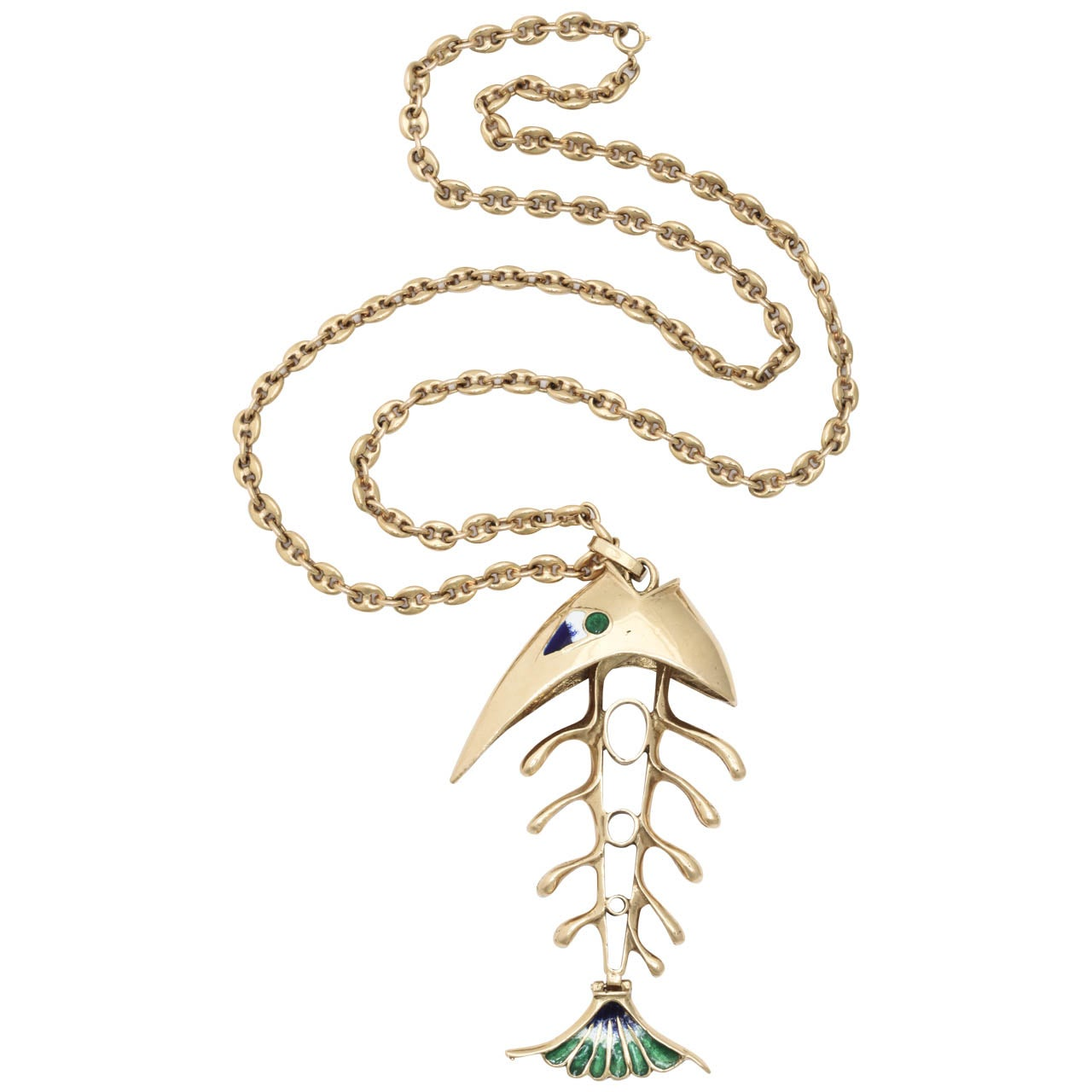 Enamel Gold Fish Bone Pendant Chain Necklace At 1stdibs