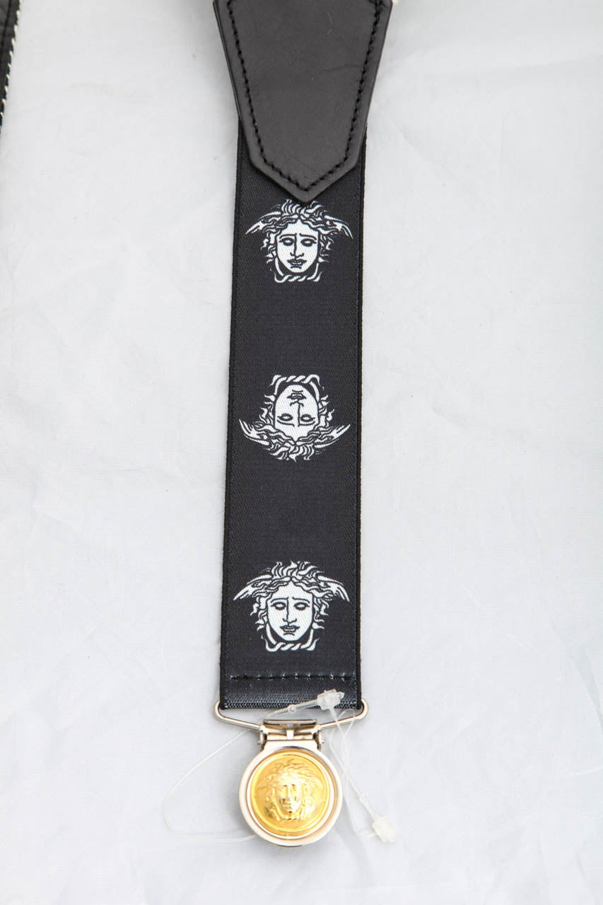 Young Versace Rare Suspenders with Medusa Motifs For Sale 1