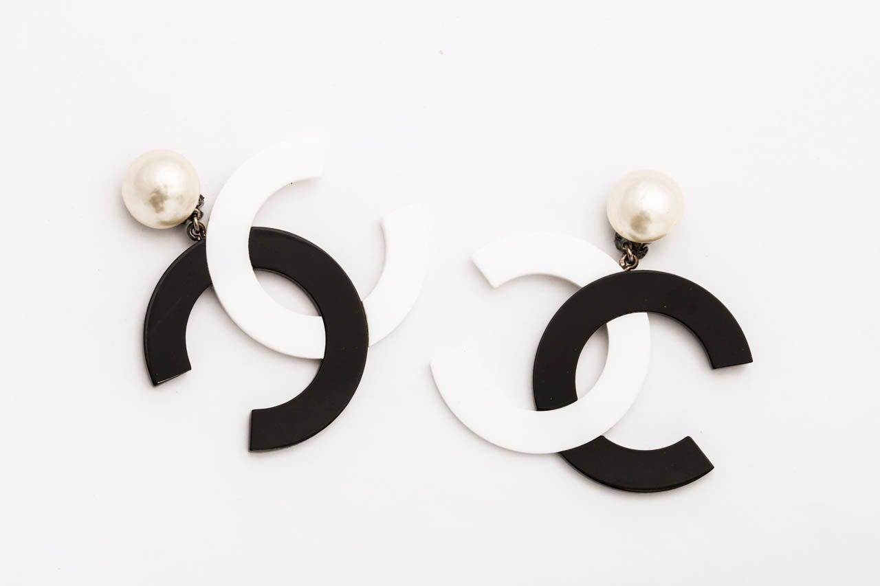 chanel black white large cc dangling earrings at 1stdibs