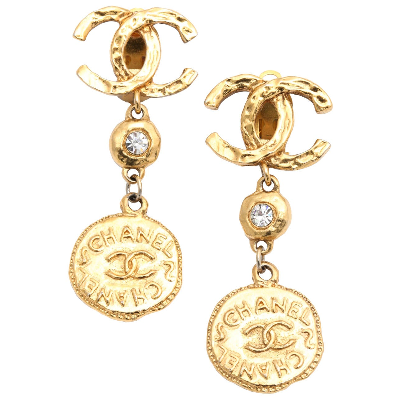 chanel coin dangling earrings with cc at 1stdibs