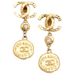 Chanel Long Coin Dangling Earrings with CC