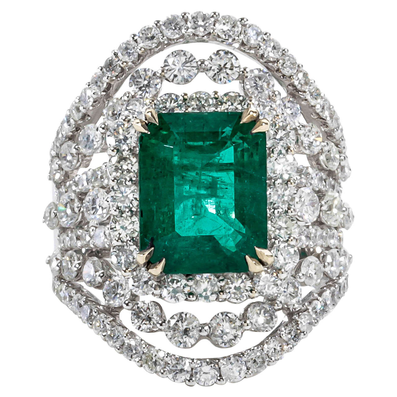 unique wide emerald gold ring at 1stdibs