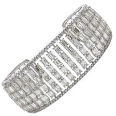 Incredible Emerald Cut Diamond Gold Cuff Bracelet
