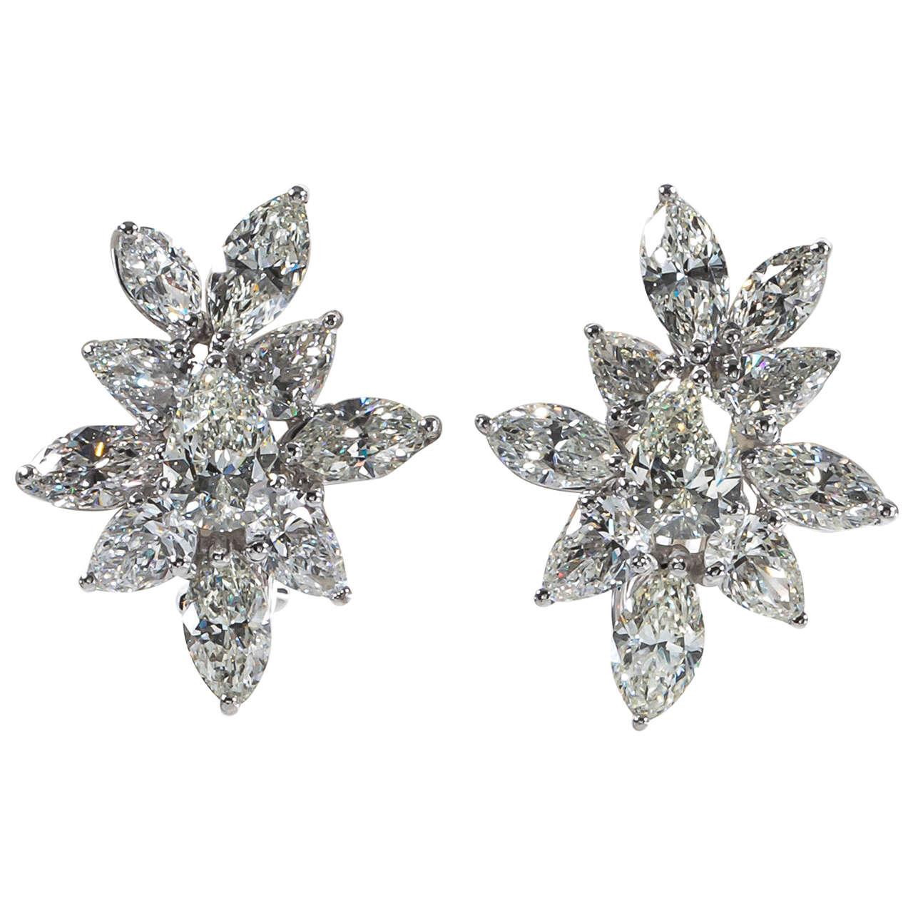 Classic Diamond Platinum Cluster Earrings