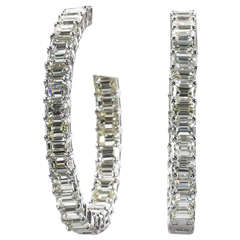 Emerald Cut Diamond Gold Hoop Earrings
