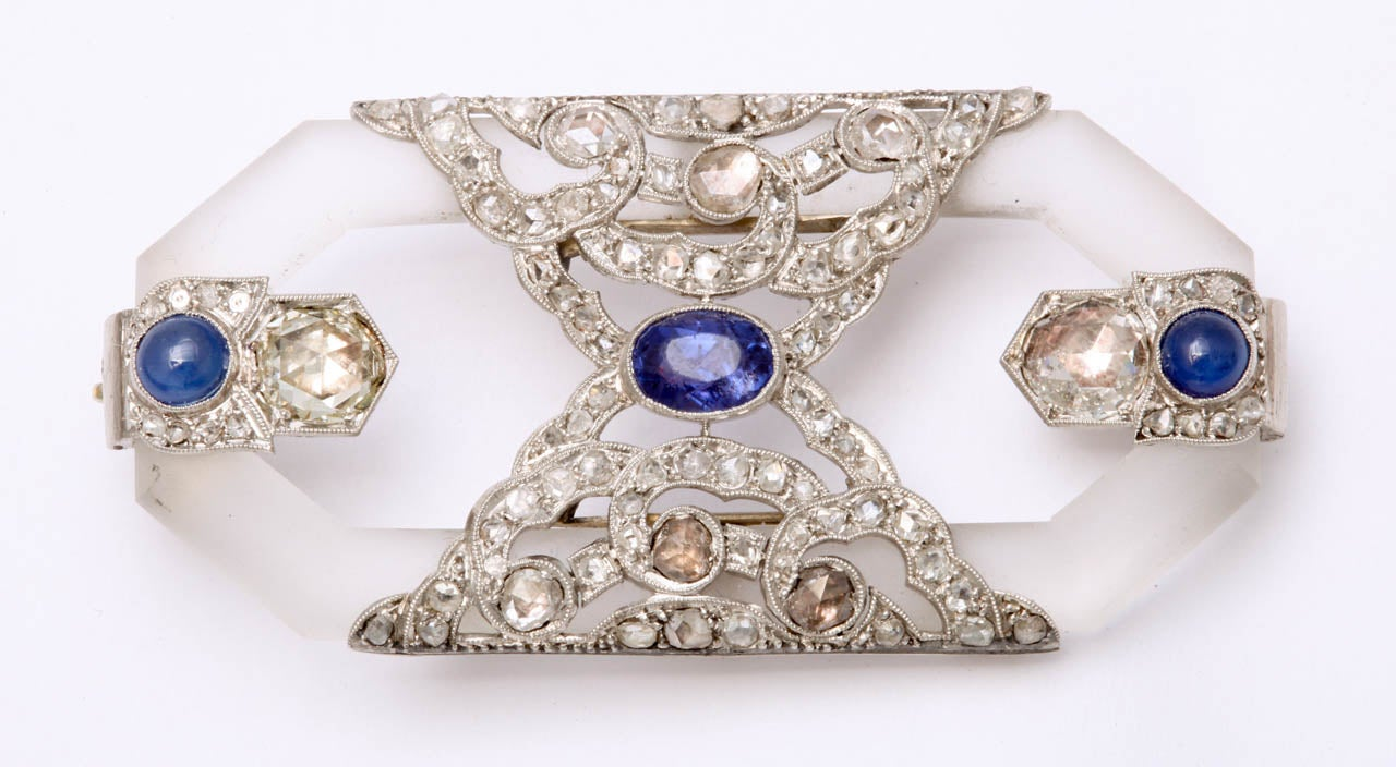 Edwardian Rock Crystal Sapphire Rose Diamond Platinum  Brooch For Sale