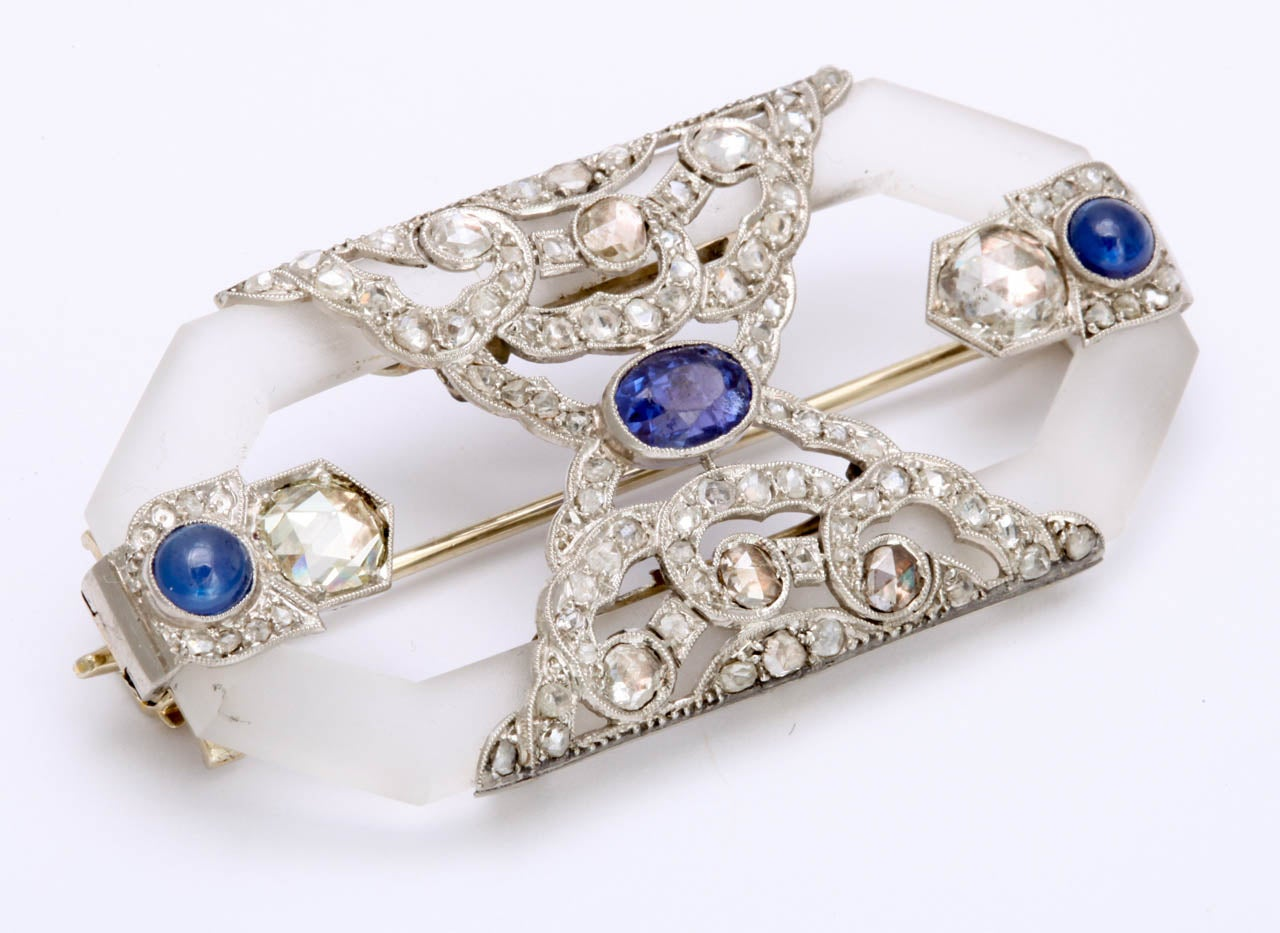 Rock Crystal Sapphire Rose Diamond Platinum  Brooch In Excellent Condition For Sale In New York, NY