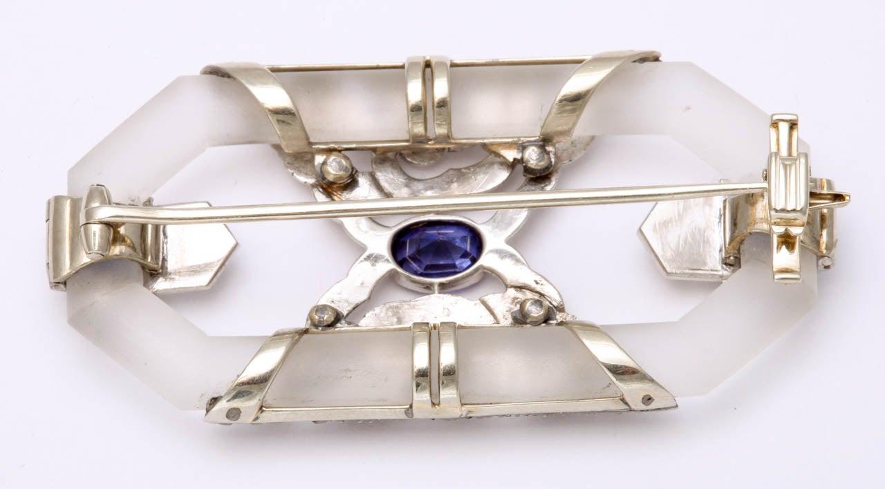 Women's Rock Crystal Sapphire Rose Diamond Platinum  Brooch For Sale