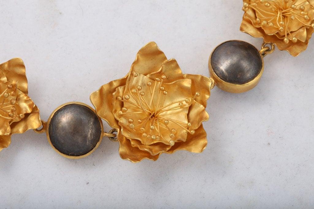 Contemporary Gold Silver Flower Choker or Bracelet For Sale