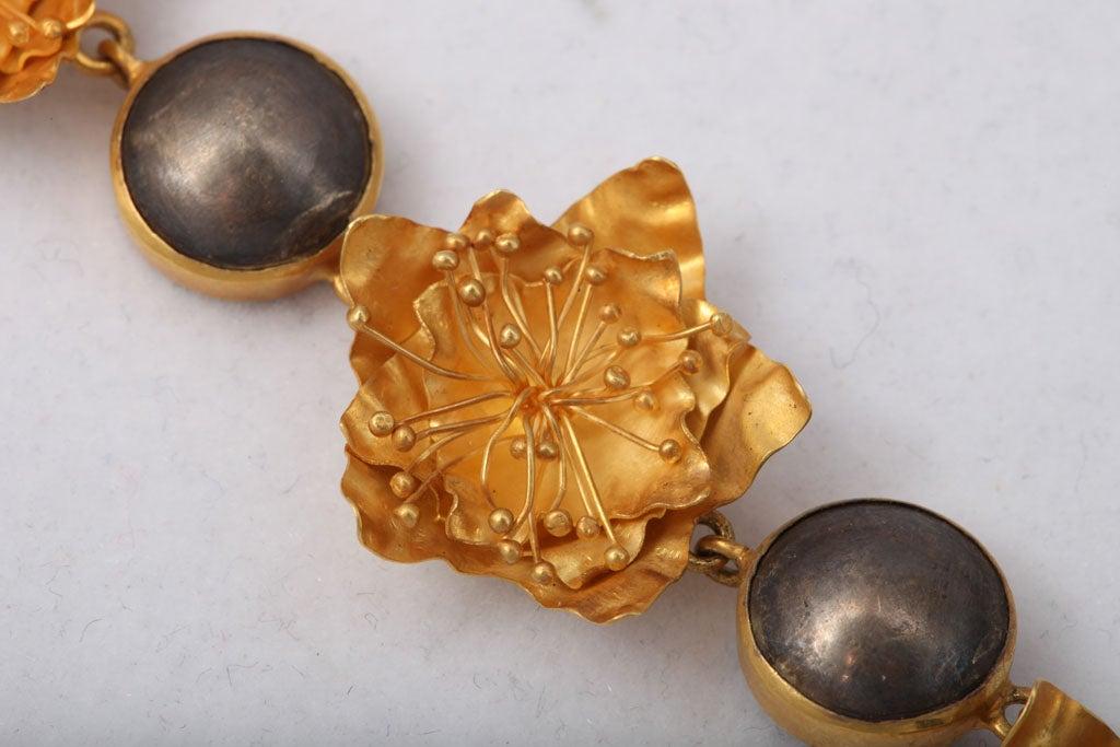 Women's Gold Silver Flower Choker or Bracelet For Sale
