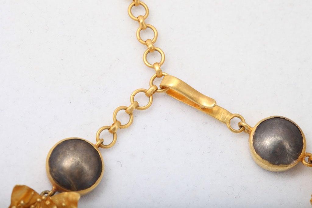 Gold Silver Flower Choker or Bracelet For Sale 1