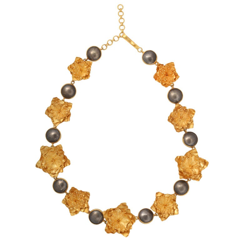 Gold Silver Flower Choker or Bracelet For Sale