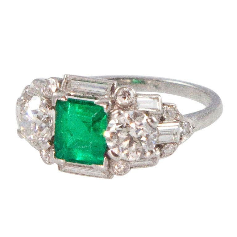 Art Deco Emerald Diamond Platinum Ring at 1stdibs