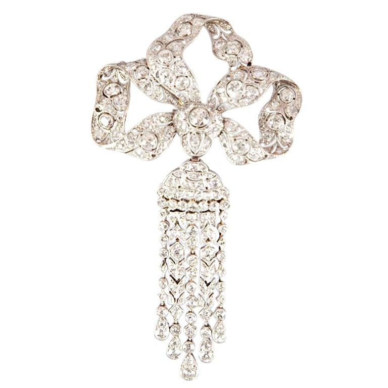Edwardian Diamond Platinum Tassel Bow Brooch For Sale 1