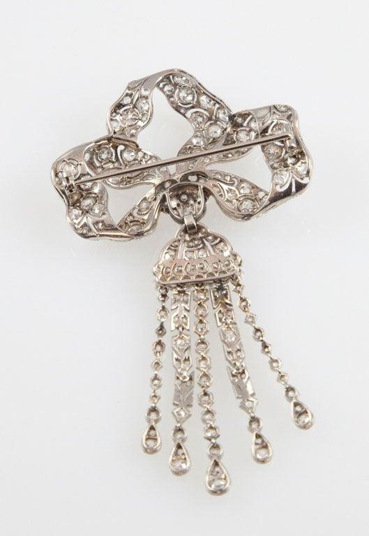 Edwardian Diamond Platinum Tassel Bow Brooch For Sale 2