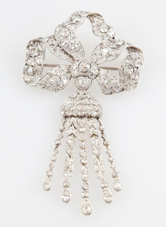 Edwardian Diamond Platinum Tassel Bow Brooch For Sale 5