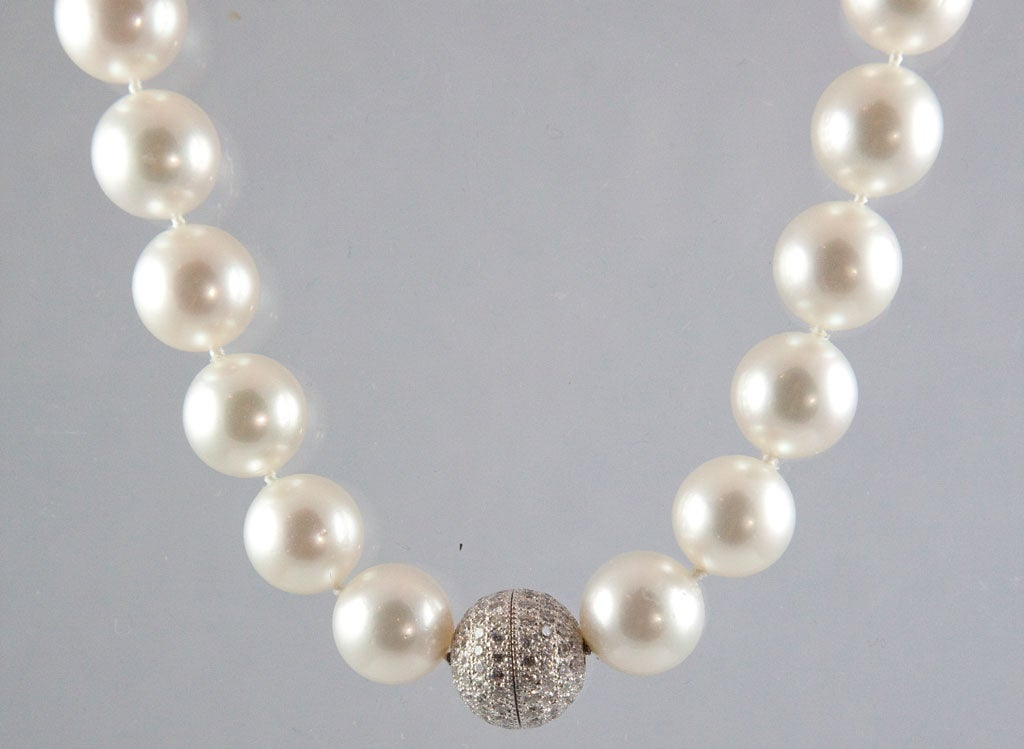 Magnificent South Sea Pearl Necklace with Diamond Platinum Ball Clasp 2