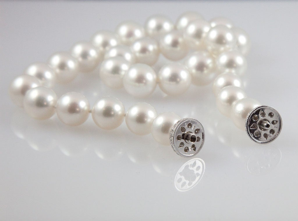 Magnificent South Sea Pearl Necklace with Diamond Platinum Ball Clasp 5