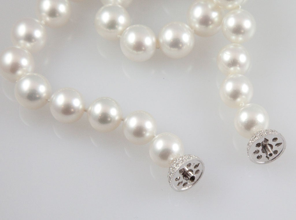 Magnificent South Sea Pearl Necklace with Diamond Platinum Ball Clasp 6