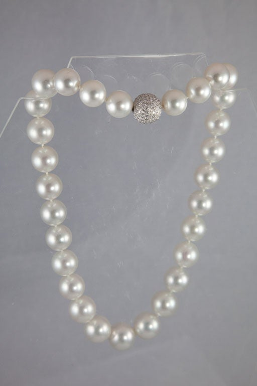 Magnificent South Sea Pearl Necklace with Diamond Platinum Ball Clasp 3