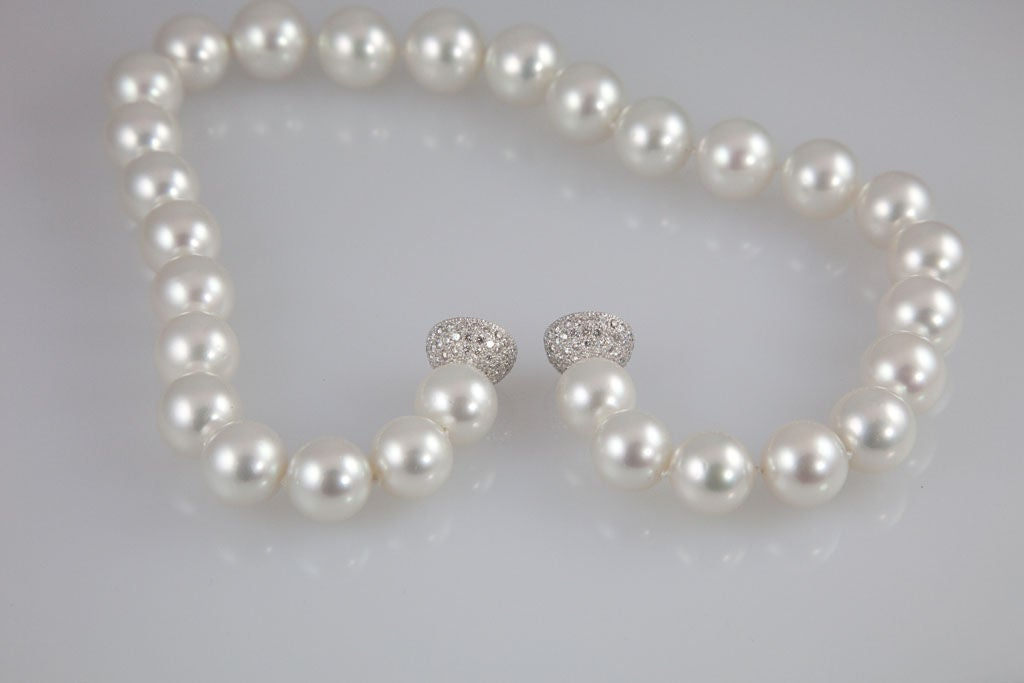 Magnificent South Sea Pearl Necklace with Diamond Platinum Ball Clasp 4