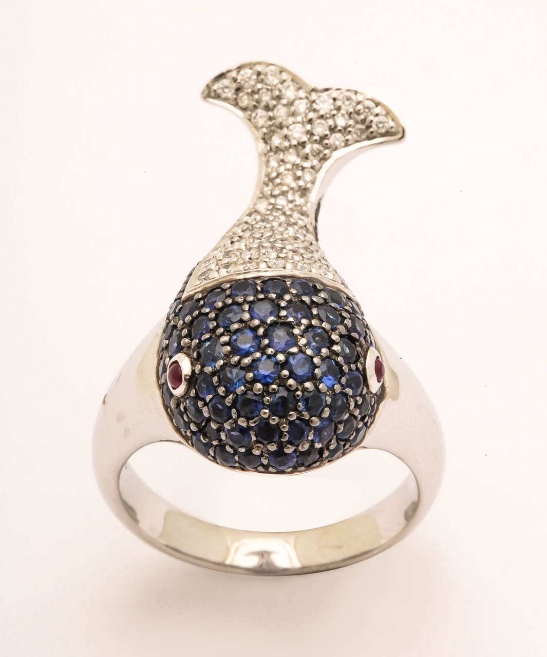 Sapphire Diamond Gold Whale Ring 2