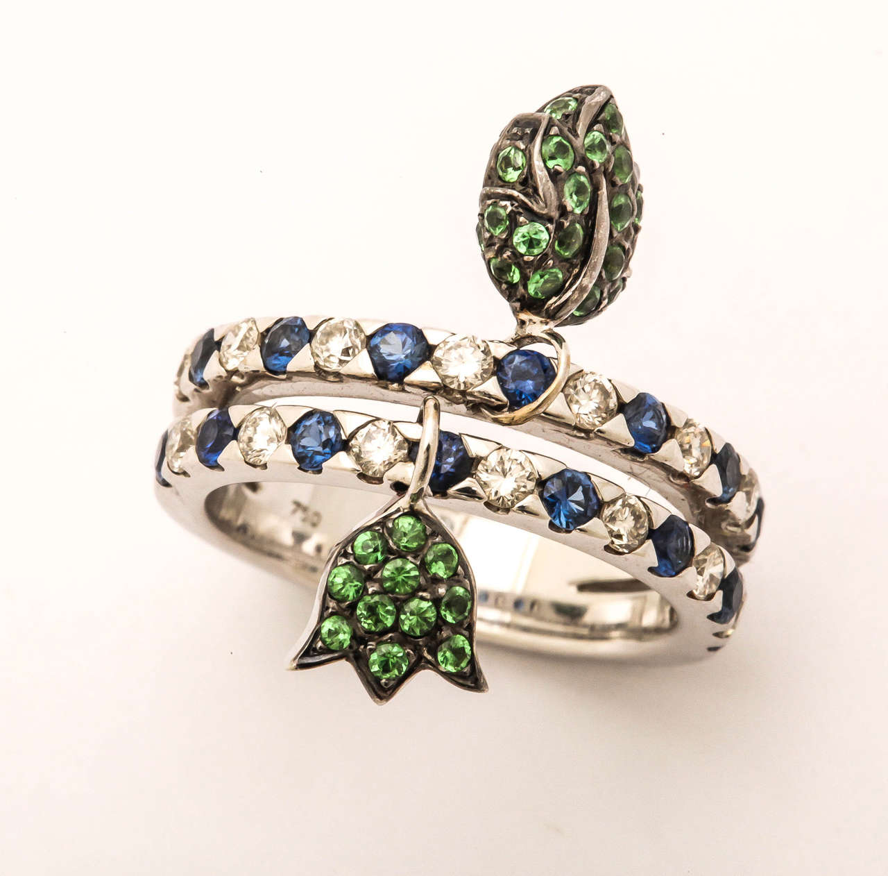 unique ring with movable green garnet tulip and leaf charms for sale