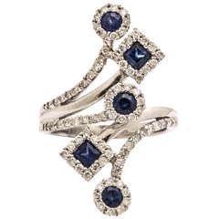 Festive Sapphire Diamond Gold Spray Ring