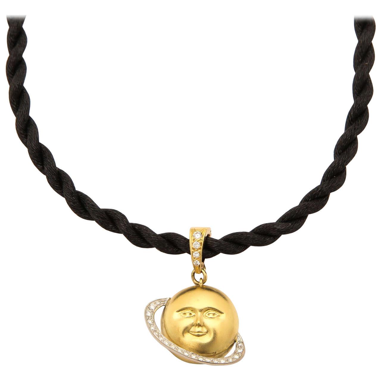 Gold and Platinum Saturn Celestial Pendant Necklace