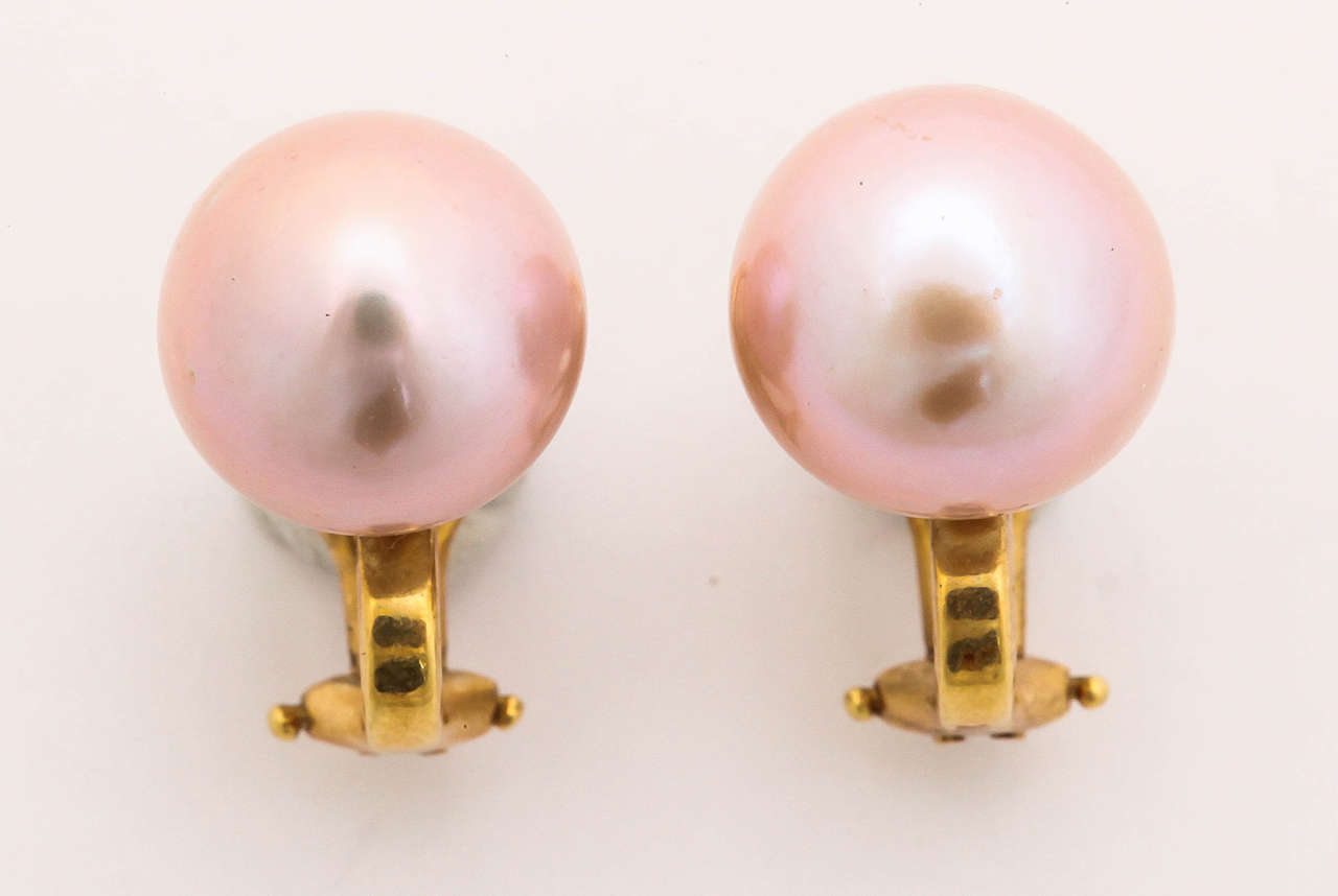 Large Pink Pearl Clip Earrings 2