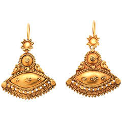 Exotic Gold Tribal Dangling Earrings