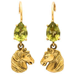 Sporty Peridot Gold Horse Head Earrings